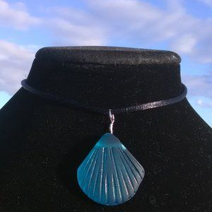 Teal Sea Glass Sea Shell Necklace